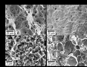 粒径が異なる材料での水素チャージと未チャージ材の破面