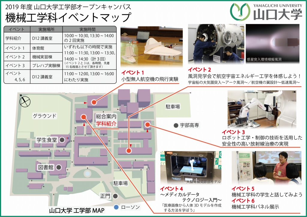 オープンキャンパス2019 機械工学科イベントマップ